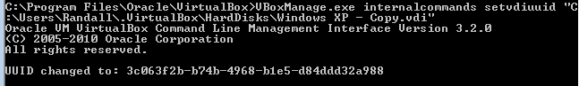 Change UUID with VBoxManager