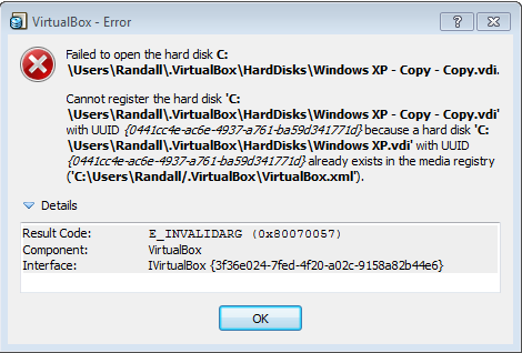 VirtualBox UUID Error