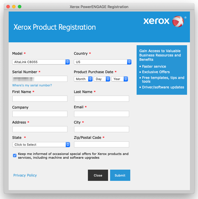 Screenshot of Xerox PowerENGAGE Registration: Xerox Product Registration
